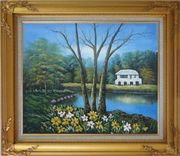 House in a Beautiful Garden with Pond and Flowers Oil Painting Naturalism Gold Wood Frame with Deco Corners 27 x 31 inches