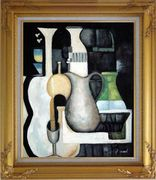 Accords, Instruments Oil Painting Still Life Modern Gold Wood Frame with Deco Corners 31 x 27 inches