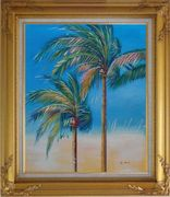 Palm Trees in Tropical Storm Oil Painting Seascape Naturalism Gold Wood Frame with Deco Corners 31 x 27 inches