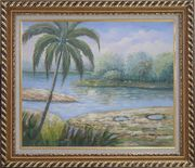 Pond Side Palm Tree Oil Painting Landscape River Naturalism Exquisite Gold Wood Frame 26 x 30 inches
