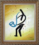A Sax Player, Modern Oil Painting Portraits Musician Exquisite Gold Wood Frame 30 x 26 inches