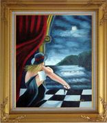 In the Moonlight Pop Art Oil Painting Portraits Woman Modern Gold Wood Frame with Deco Corners 31 x 27 inches