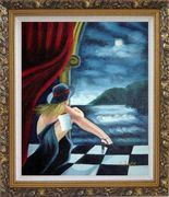 In the Moonlight Pop Art Oil Painting Portraits Woman Modern Ornate Antique Dark Gold Wood Frame 30 x 26 inches