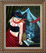 Girl by the Window Pop Art Oil Painting Portraits Woman Modern Exquisite Gold Wood Frame 30 x 26 inches