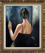 Back of Smoking Lady with Evening Dress Oil Painting Portraits Woman Impressionism Ornate Antique Dark Gold Wood Frame 30 x 26 inches