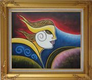 Girl Face in Wind Oil Painting Portraits Woman Modern Cubism Gold Wood Frame with Deco Corners 27 x 31 inches