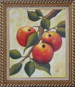 Branch of Red Fruit and Green Leaves Oil Painting Modern Exquisite Gold Wood Frame 30 x 26 inches