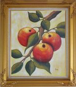 Branch of Red Fruit and Green Leaves Oil Painting Modern Gold Wood Frame with Deco Corners 31 x 27 inches