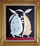 Dancing Rabbits Oil Painting Animal Modern Gold Wood Frame with Deco Corners 31 x 27 inches