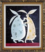 Dancing Rabbits Oil Painting Animal Modern Ornate Antique Dark Gold Wood Frame 30 x 26 inches