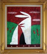 Two Rabbits in Field Modern Oil Painting Animal  Gold Wood Frame with Deco Corners 31 x 27 inches