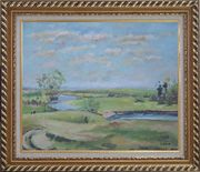 By the Pond Oil Painting Landscape River Impressionism Exquisite Gold Wood Frame 26 x 30 inches