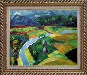 River Pass through Village Oil Painting Landscape Impressionism Exquisite Gold Wood Frame 26 x 30 inches