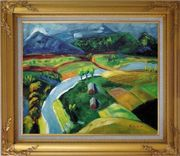 River Pass through Village Oil Painting Landscape Impressionism Gold Wood Frame with Deco Corners 27 x 31 inches