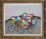 Cycling Circus Oil Painting Portraits Modern Ornate Antique Dark Gold Wood Frame 26 x 30 inches