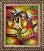Faces, Picasso Reproduction Oil Painting Portraits Modern Cubism Exquisite Gold Wood Frame 30 x 26 inches