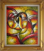 Faces, Picasso Reproduction Oil Painting Portraits Modern Cubism Gold Wood Frame with Deco Corners 31 x 27 inches