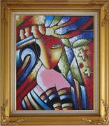 Beautiful Girl, Picasso Replica Oil Painting Portraits Woman Modern Cubism Gold Wood Frame with Deco Corners 31 x 27 inches