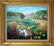 Poppies Valley Oil Painting Landscape Impressionism Gold Wood Frame with Deco Corners 27 x 31 inches
