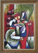 Woman with Book, Picasso Reproduction Oil Painting Portraits Modern Cubism Exquisite Gold Wood Frame 42 x 30 inches