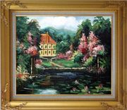 Romantic Shadows Oil Painting Garden Impressionism Gold Wood Frame with Deco Corners 27 x 31 inches