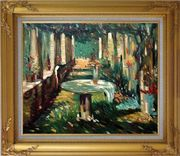 Secret Rendezvous Oil Painting Garden Impressionism Gold Wood Frame with Deco Corners 27 x 31 inches