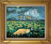Mountainside Tropic Green Plants Oil Painting Landscape Impressionism Gold Wood Frame with Deco Corners 27 x 31 inches