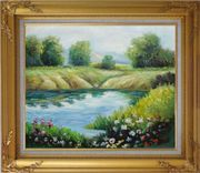 Beautiful Landscape with Flowers, and Meadow Along Pond Oil Painting River Impressionism Gold Wood Frame with Deco Corners 27 x 31 inches