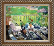 Afternoon Sunshine Oil Painting Garden Impressionism Exquisite Gold Wood Frame 26 x 30 inches