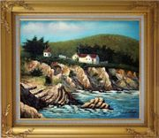 Cottages by the Sea Oil Painting Seascape France Impressionism Gold Wood Frame with Deco Corners 27 x 31 inches