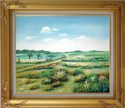 Broadly Country Road Oil Painting Landscape Naturalism Gold Wood Frame with Deco Corners 27 x 31 inches