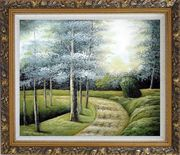 Woodland Walk Oil Painting Landscape Tree Naturalism Ornate Antique Dark Gold Wood Frame 26 x 30 inches