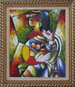 A Sitting Lady, Picasso Oil Painting Portraits Woman Modern Cubism Exquisite Gold Wood Frame 30 x 26 inches