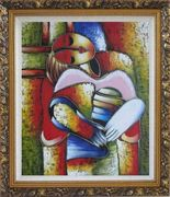 Le Reve Revision, Picasso Oil Painting Portraits Woman Modern Cubism Ornate Antique Dark Gold Wood Frame 30 x 26 inches