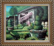 Joyful Backyard Garden Oil Painting Naturalism Exquisite Gold Wood Frame 26 x 30 inches