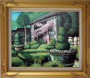 Joyful Backyard Garden Oil Painting Naturalism Gold Wood Frame with Deco Corners 27 x 31 inches