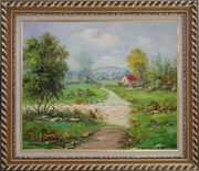 Countryside Footpath in Rural Village Oil Painting Naturalism Exquisite Gold Wood Frame 26 x 30 inches