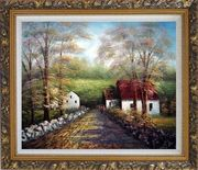 One Fine Beautiful Morning Oil Painting Village Naturalism Ornate Antique Dark Gold Wood Frame 26 x 30 inches