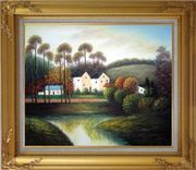 Houses, Creek, Road, Trees and Mountain Oil Painting Village Impressionism Gold Wood Frame with Deco Corners 27 x 31 inches