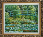 Waterlilies and Japanese Bridge, Monet Oil Painting Landscape River France Impressionism Ornate Antique Dark Gold Wood Frame 26 x 30 inches