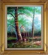 Tree Study Oil Painting Landscape Naturalism Gold Wood Frame with Deco Corners 31 x 27 inches