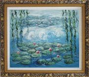 Waterlily and Weeping Willow, Monet Reproduction Oil Painting Flower Impressionism Ornate Antique Dark Gold Wood Frame 26 x 30 inches