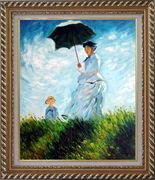 The Stroll, Camille Monet and Her Son, Claude Monet Replica Oil Painting Portraits Woman Child Impressionism Exquisite Gold Wood Frame 30 x 26 inches