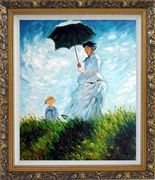 The Stroll, Camille Monet and Her Son, Claude Monet Replica Oil Painting Portraits Woman Child Impressionism Ornate Antique Dark Gold Wood Frame 30 x 26 inches