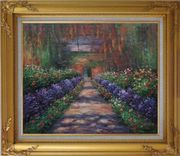 Garden Path at Giverny, Monet Reproduction Oil Painting France Impressionism Gold Wood Frame with Deco Corners 27 x 31 inches