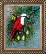 A Red Bird Enjoy in a Fruit Tree Oil Painting Animal Naturalism Exquisite Gold Wood Frame 30 x 26 inches