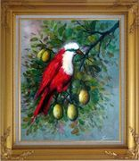 A Red Bird Enjoy in a Fruit Tree Oil Painting Animal Naturalism Gold Wood Frame with Deco Corners 31 x 27 inches