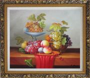 Still Life of Grapes and Peaches on Table Oil Painting Fruit Classic Ornate Antique Dark Gold Wood Frame 26 x 30 inches