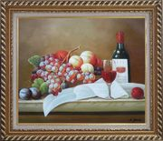 Still Life with Grapes, Peach and Wine Glass on Table Oil Painting Fruit Classic Exquisite Gold Wood Frame 26 x 30 inches