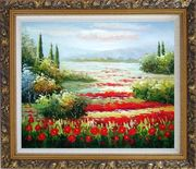 Papaveri Rossi Oil Painting Landscape Field Naturalism Ornate Antique Dark Gold Wood Frame 26 x 30 inches